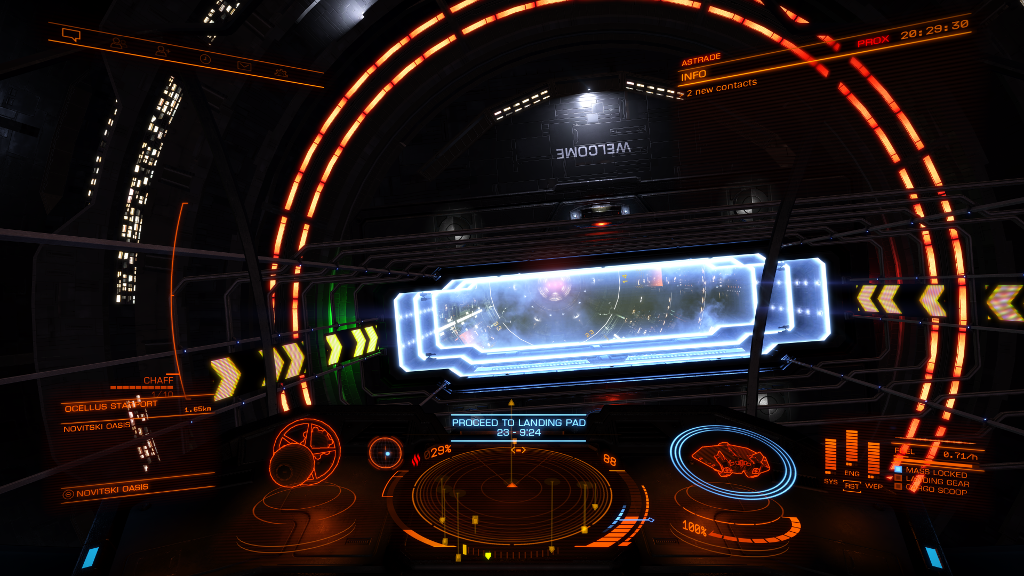 Entering Ocellus Starport through the station's letterbox